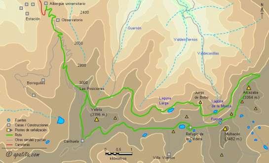 Mapa - Ruta por los vasares del Mulhacén y de la Alcazaba desde el albergue universitario