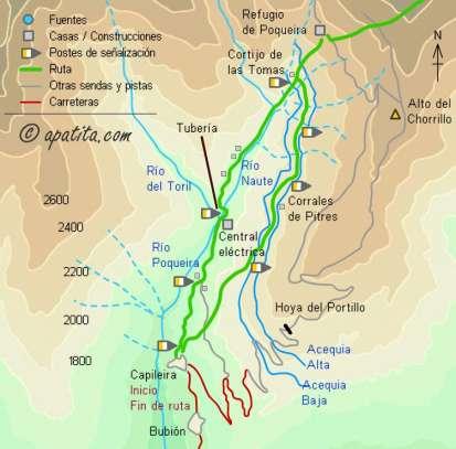 Mapa - Subida al Veleta desde Capileira pasando por el refugio de Poqueira