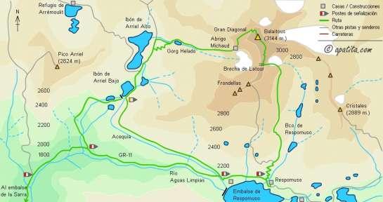 Mapa - Subida por la brecha de Latour y bajada por la Gran Diagonal