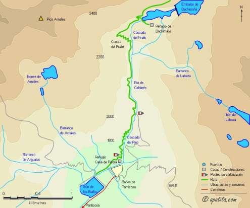 Mapa - Ascensión a la Gran Facha desde Baños de Panticosa por el refugio de Bachimaña