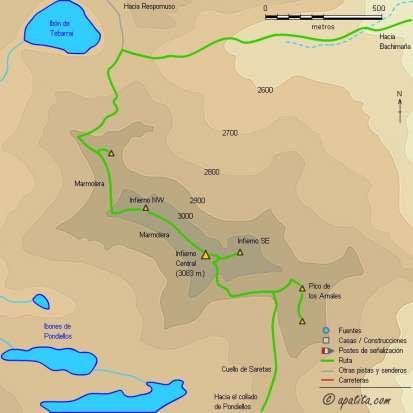 Mapa - Circular por los picos del Infierno, Garmo Negro, Algas y Argualas desde Baños de Panticosa
