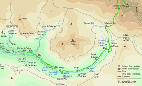 Mapa - Ascensión a Monte Perdido y Cilindro desde el refugio de Góriz