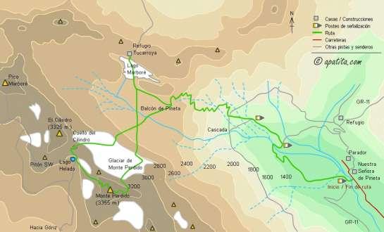 Mapa - Ascensión a Monte Perdido por la cara norte desde Pineta
