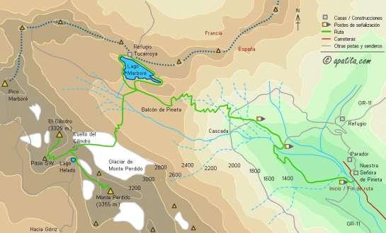 Mapa - Subida a Monte Perdido por el balcón de Pineta y el cuello del Cilindro