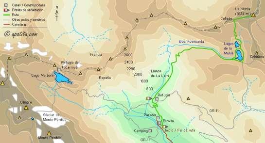 Mapa - Ascensión a la Munia desde el valle de Pineta