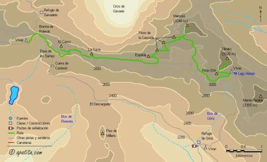 Mapa - Recorrido circular en Ordesa subiendo a gran parte de los tresmiles del parque
