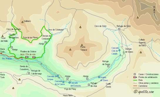 Mapa - Recorrido por la Faja de las Flores subiendo por Cotatuero y bajando por Carriata