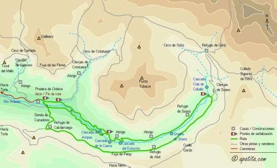 Mapa - Recorrido por el valle de Ordesa por la Faja de Pelay y regreso por el fondo del valle
