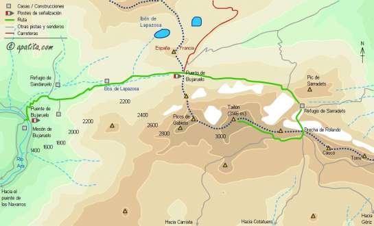 Mapa - Ascensión al Taillón y la Brecha desde Bujaruelo por Sarradets