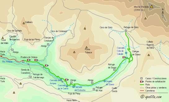 Mapa - Ascensión al Taillón y la Brecha desde Góriz por el cuello de Millaris
