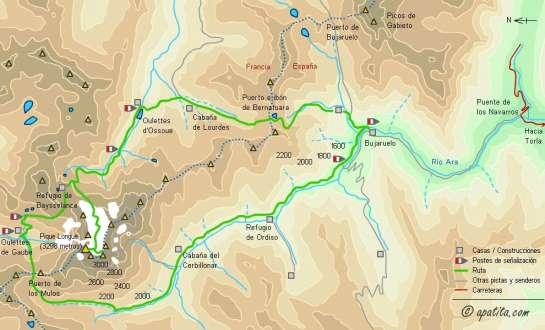 Mapa - Tour y ascensión al Vignemale