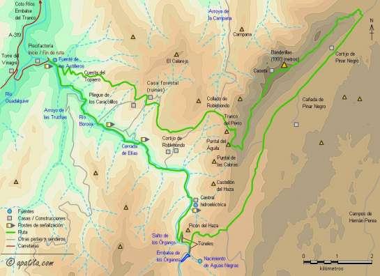 Mapa - Subida al Banderillas por el río Borosa y embalse de los Órganos y bajada por el Tranco del Perro.