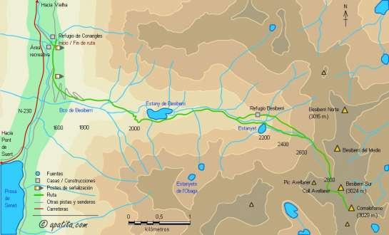 Mapa - Subida al Besiberri Sur y Comaloforno desde Conangles