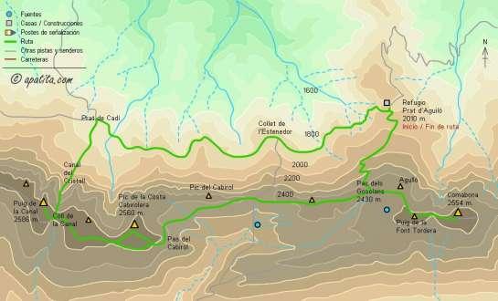 Mapa - Subida por la Canal del Cristall y bajada por el Pas dels Gosolans desde Prat d'Aguiló