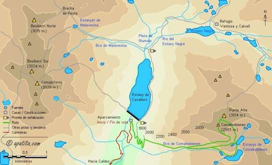 Mapa - Subida a Comalesbienes desde la presa de Cavallers