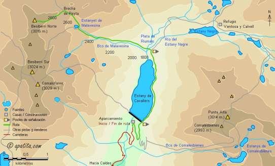 Mapa - Subida al Besiberri Norte desde la presa de Cavallers