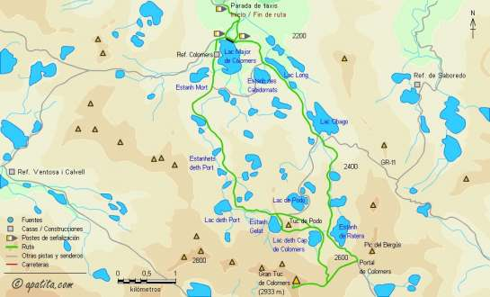 Mapa - Subida al Tuc de Colomers desde Bahns de Tredós