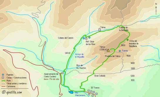 Mapa - Subida al Yelmo desde Canto Cochino