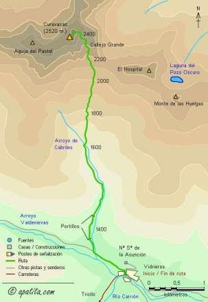 Mapa - Subida al Curavacas desde Vidrieros por el Callejo Grande