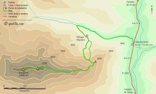 Mapa - Subida a Espigüete por el refugio Mazobre