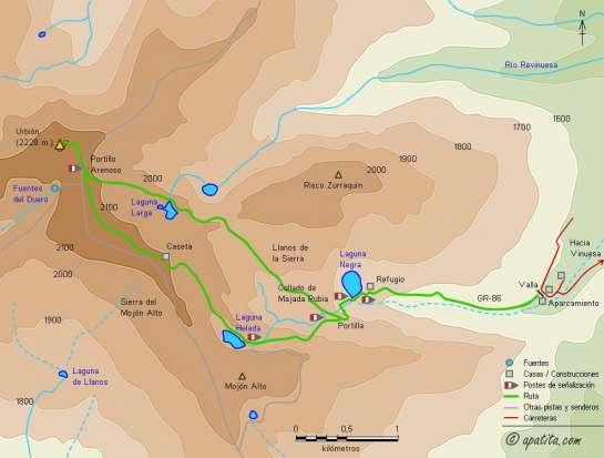 Mapa - Subida al pico de Urbión por la Laguna Negra
