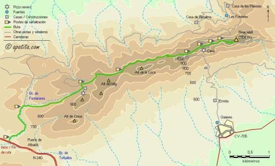 Mapa - Subida al Benicadell desde el puerto de Albaida siguiendo parte del PR-CV 184