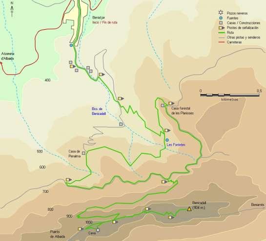 Mapa - Subida al Benicadell desde Beniatjar por el PR-CV 213