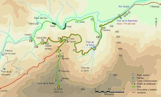 Mapa - Subida a la Safor desde la font de la Reprimala por el PR-CV 42