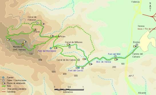 Mapa - Subida al Montdúver desde Xeresa por el PR-CV 153
