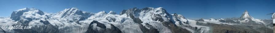 Panorámica del Monte Rosa al Cervino desde Gornergrat