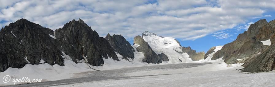 Vista del Glacier Blanc y de la Barre des Écrins
