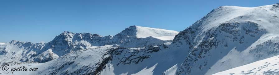 Vista de las caras norte de la Alcazaba, Mulhacén y Cerro de los Machos.