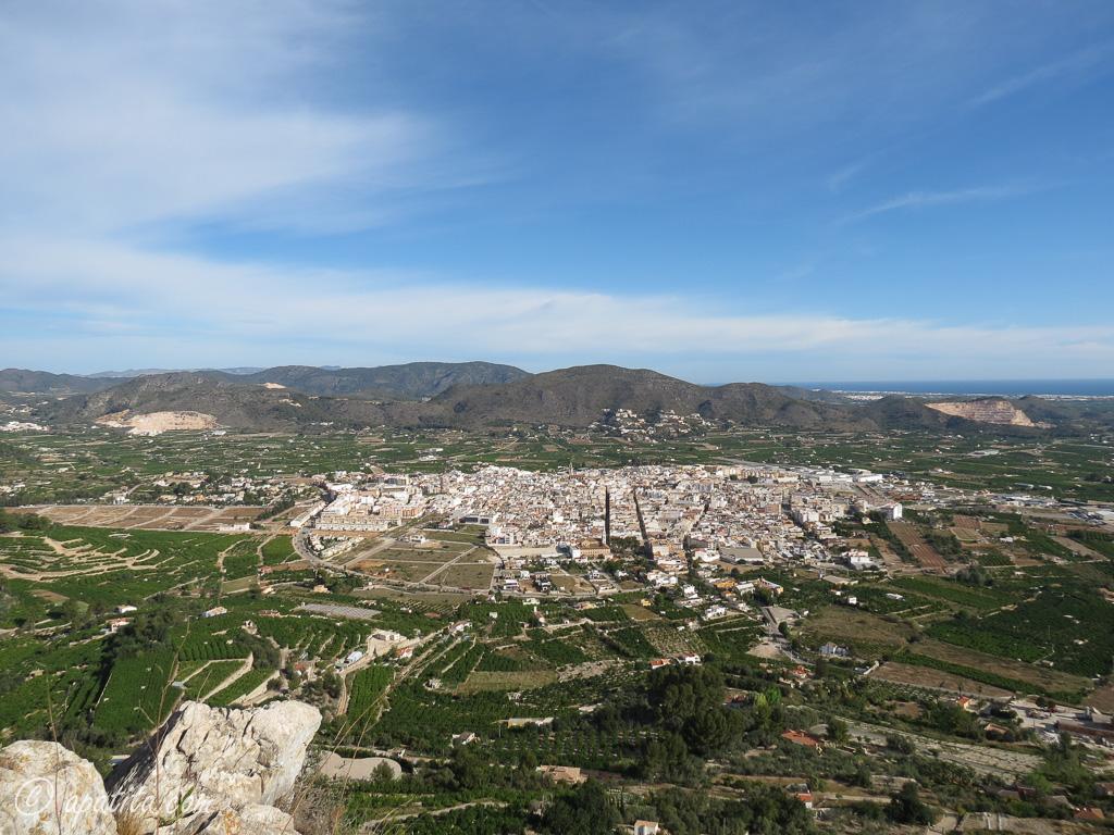 Vista de Pego desde el Castell d'Ambra