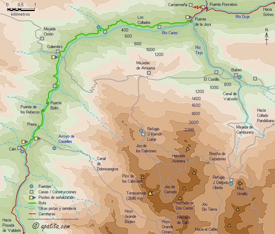 Ruta Del Cares Mapa.Garganta Del Cares Ruta Del Cares Entre Cain Y Puente Poncebos